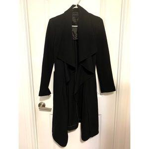 Zara - Black Tie Waist Drape Coat - Size XS